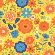 Moda On The Wing by Abi Hall - 4031 - Bright Flowers on Yellow - 35260 14 - Cotton Fabric